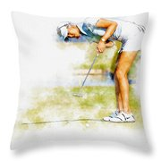 Michelle Wie Of Usa Putting At The  Lpga Lotte Championship  Throw Pillow
