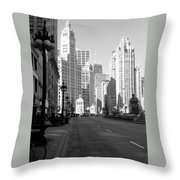 Michigan Ave Tall B-w Throw Pillow