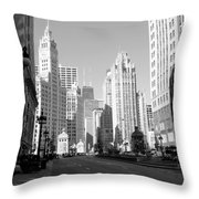 Michigan Ave Wide B-w Throw Pillow
