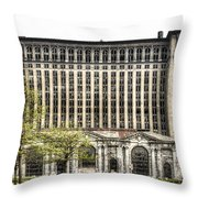 Michigan Central Station Detroit Throw Pillow