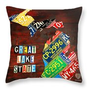 Michigan License Plate Map Throw Pillow by Design Turnpike