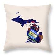 Michigan Map Art With Flag Design Throw Pillow