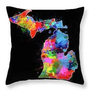 Michigan Map Color Splatter 2 Throw Pillow