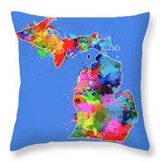 Michigan Map Color Splatter 3 Throw Pillow