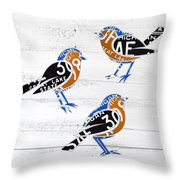 Michigan Robins State Bird Recycled Vintage License Plate Art On White Barn Wood Throw Pillow