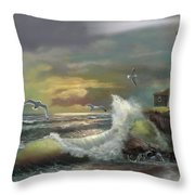 Michigan Seul Choix Point Lighthouse With An Angry Sea Throw Pillow