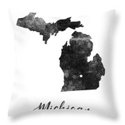 Michigan State Map Art - Grunge Silhouette Throw Pillow