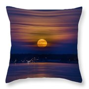 Michigan Super Moon Over Muskegon Lake Throw Pillow