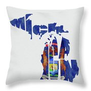 Michigan Typography Map Flag Throw Pillow
