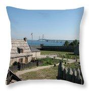 Michilimackinac And Mackinac Bridge Throw Pillow
