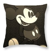 Mickey Mat Sepia Throw Pillow