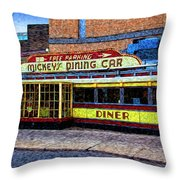 Mickey's Dining Car Throw Pillow