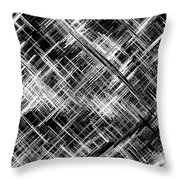 Micro Linear Black And White Throw Pillow