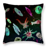 Microbial World Throw Pillow