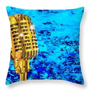 Microphone On Blues Fire Throw Pillow