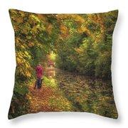Mid Autumn On The Grand Union No 2 Throw Pillow