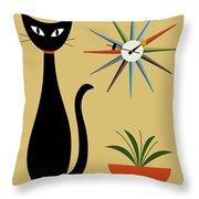 Mid Century Starburst Clock 3 Throw Pillow