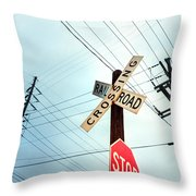 Mid West Crossroad, Usa Throw Pillow