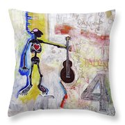 Middle-aged Musician Throw Pillow by Rick Baldwin