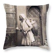 Middle Eastern Street Vendor Throw Pillow