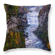 Middle Falls Letchworth State Park Throw Pillow by Dick Wood