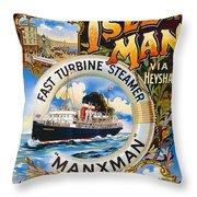 Midland Railway, Steam Boat, Isle Of Man, Poster Throw Pillow