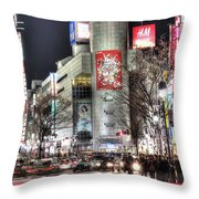 Midnight At Shibuya Throw Pillow