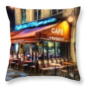 Midnight At The Brasserie Throw Pillow
