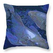 Midnight Blue Koi Throw Pillow