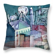 Midnight Colliery Original Watercolour Painting Throw Pillow