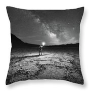 Midnight Explorer At Badwater Basin Bw Throw Pillow