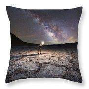 Midnight Explorer At Badwater Basin  Throw Pillow