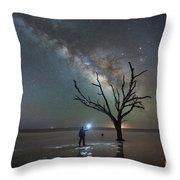 Midnight Explorer At Botany Bay Beach Throw Pillow