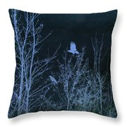 Midnight Flight Silhouette Blue Throw Pillow
