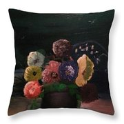 Midnight Flower Throw Pillow