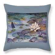 Midnight Lily Throw Pillow