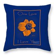 Midnight Orange Passion Flower Throw Pillow