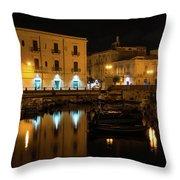 Midnight Silence And Solitude - Syracuse Sicily Illuminated Waterfront Throw Pillow