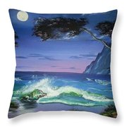 Midnight Tropicale Throw Pillow