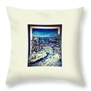 Midnight Winter Mountain Throw Pillow