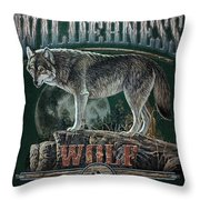 Midnight Wolf Sign Throw Pillow