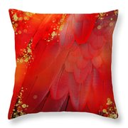 Midsummer Magik Fantasy Abstract Red Feathers, Gold Sparkles Throw Pillow