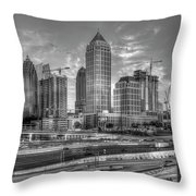 Midtown Atlanta Dusk B W Atlanta Construction Art Throw Pillow