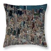 Midtown East Manhattan Skyline Aerial   Throw Pillow