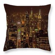 Midtown Manhattan Skyline Aerial At Night Throw Pillow