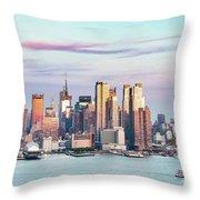 Midtown Manhattan Skyline At Sunset, New York City, Usa Throw Pillow