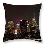 Midtown West Manhattan Skyline Aerial At Night Throw Pillow