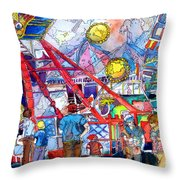 Midway Amusement Rides Throw Pillow
