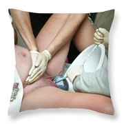 Midwife Removing Afterbirth Throw Pillow