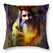 Midwinter Solstice Fire Lord Throw Pillow